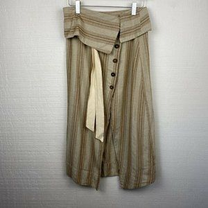 Free People Skirt XS Stripe Tan Cream Buttons Midi